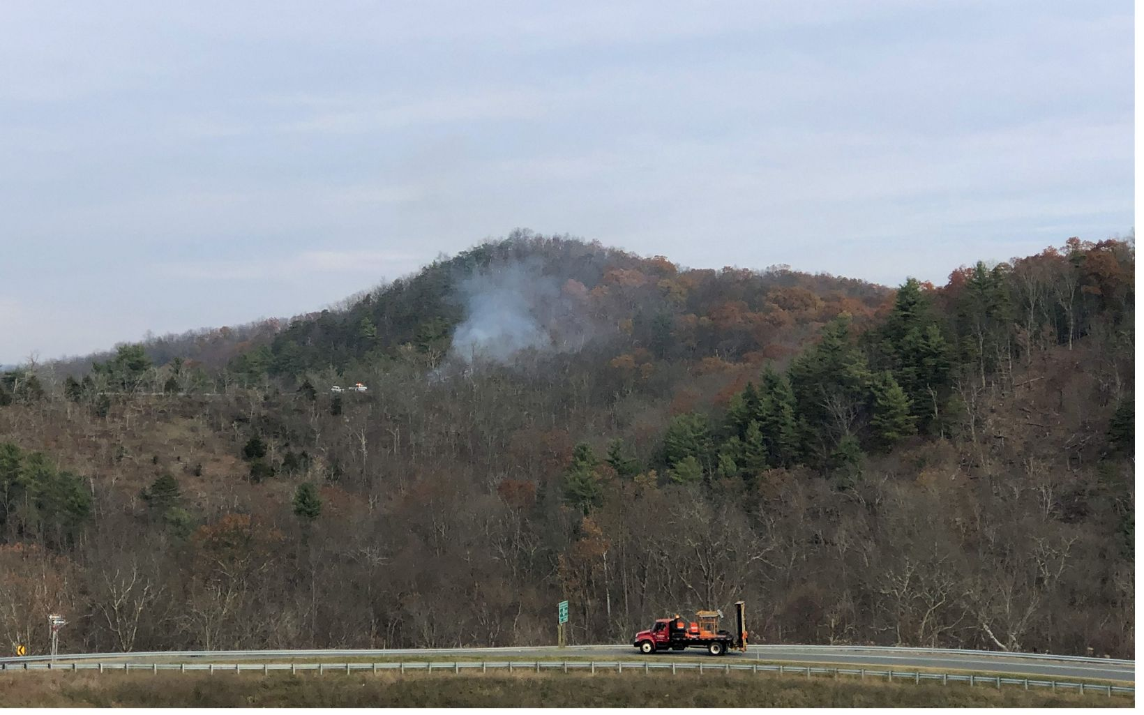 Smoke from the burn unit is visible from TNC's public viewing station during the Sideling Hill Creek controlled burn, November 21, 2019.