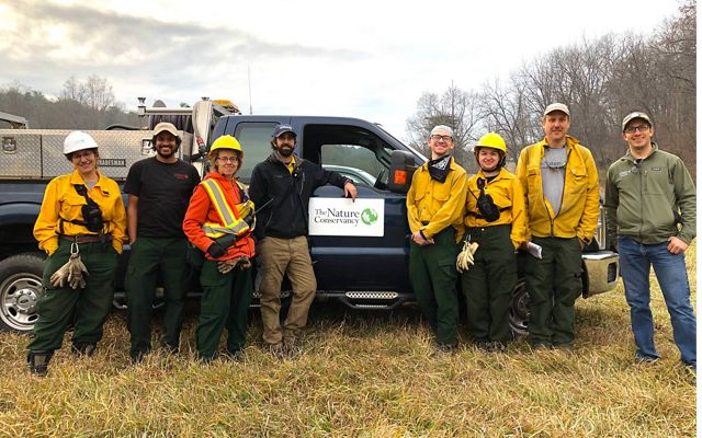 Maryland fire team at Sideling Hill Creek Preserve