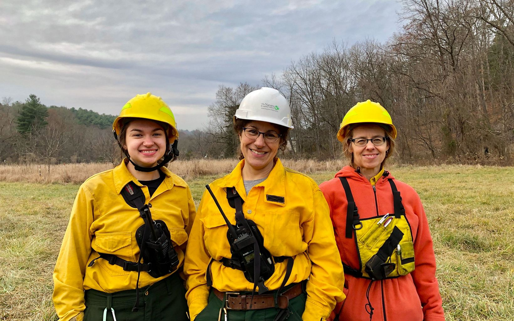 (L-R) Samantha Myers, Deborah Landau and Deborah Barber at the Sideling Hill Creek controlled burn, November 21, 2019.