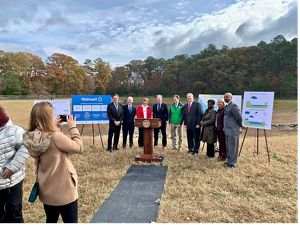 Representatives from TNC, Opti, and Maryland partner agencies attend a smart pond announcement event, Fruitland, MD.