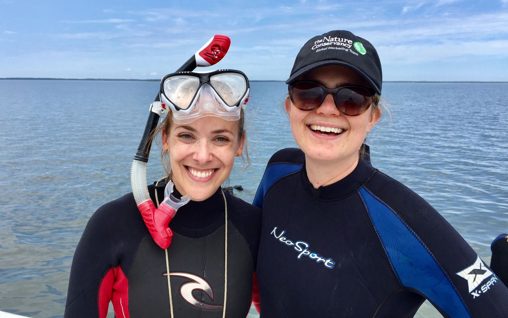 Maryland/DC's Benay Brotman and Bridget Moynihan suited up for eelgrass collection off Oyster, VA, May 2019.