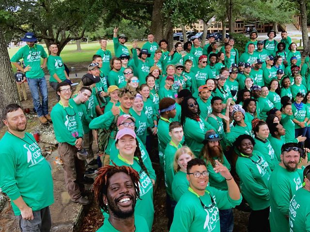 Group selfie of Year 3 Orientation participants at Beckwith Camp & Conference Center, Fairhope, AL.