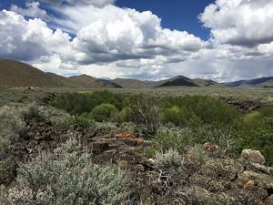 Lanscape scenic of volcanic rock and sagebrush steppe