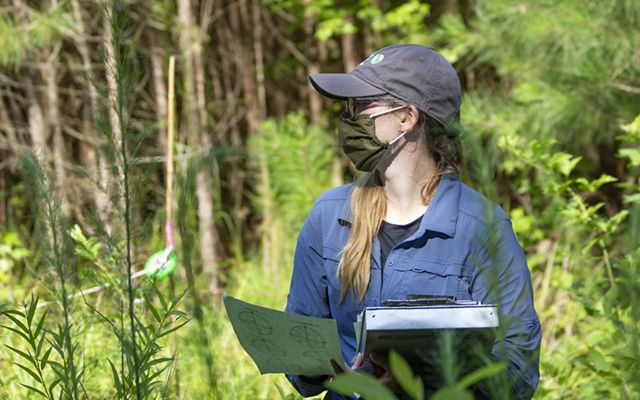 A woman wearing a face mask is shown in profile looking off to her right. She holds a clipboard and papers for recording field observations.