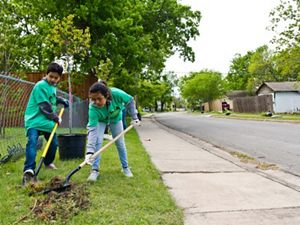 Community youth volunteers in Dallas plant trees to clean and cool the air.
