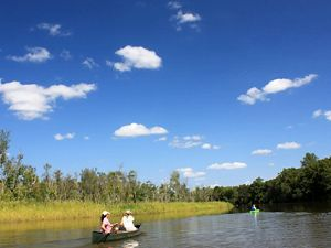 Two people paddle a canoe through a wide marsh creek. Trees line one bank; low marsh grasses line the other. Puffy white clouds dot the blue sky.