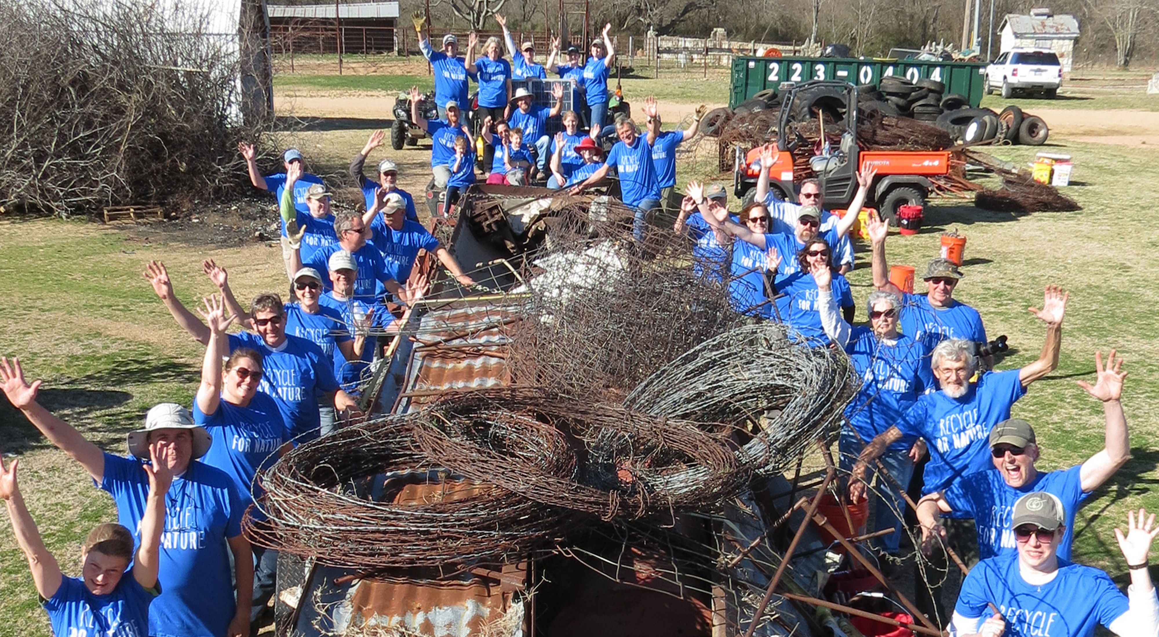 Volunteers at a Blue River cleanup.