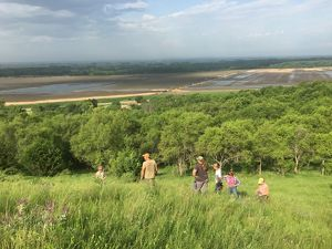 Interns look out from Loess Hills in western Iowa