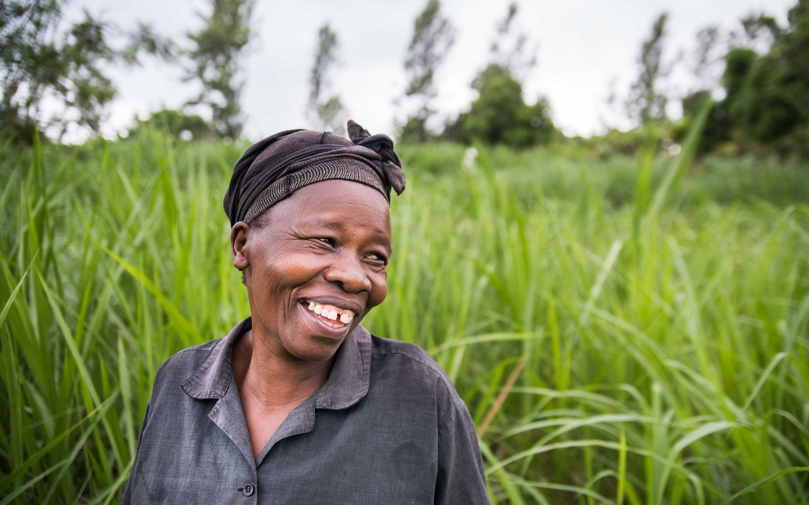 Irene Mumiria stands in front on napier grass she planted to help reduce erosion on her farm in Maragua, Kenya.