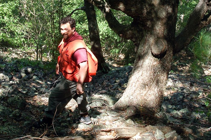 Candid photo of conservation scientist Jean Lorber. A man wearing an orange backpack stands on a forest trail. A large tree rises behind him.