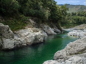 A lovely, green river streams between rocks with a mountain in the background.