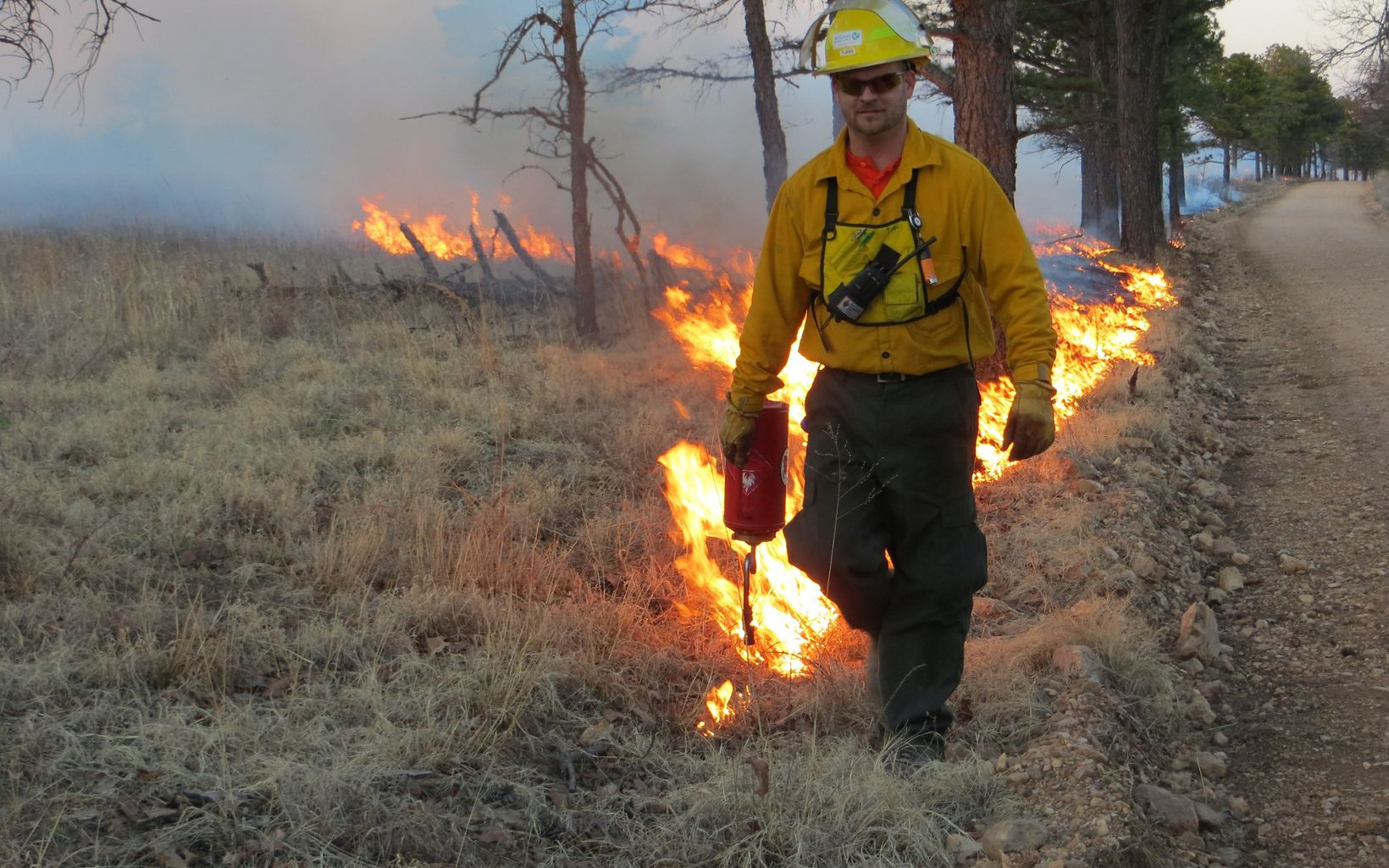 Preserve manager igniting prescribed fire at J.T. Nickel.