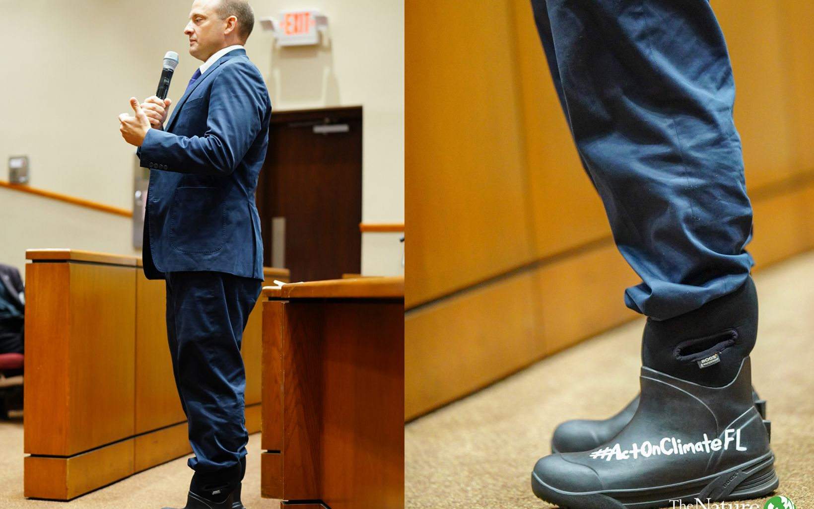 Javier Rodriguez wearing a blue suit and black neoprene and rubber rain boots with '#ActOnClimateFL' written on them.