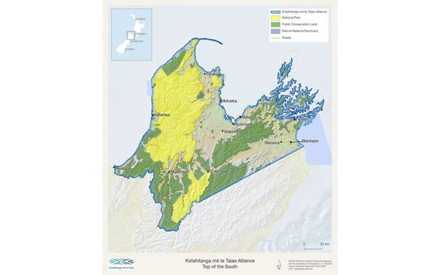 A map of the top of New Zealand's South Island.