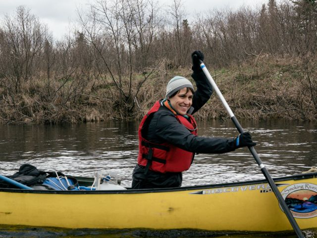 Kate Dempsey, TNC in Maine State Director, paddles on the St. John River.