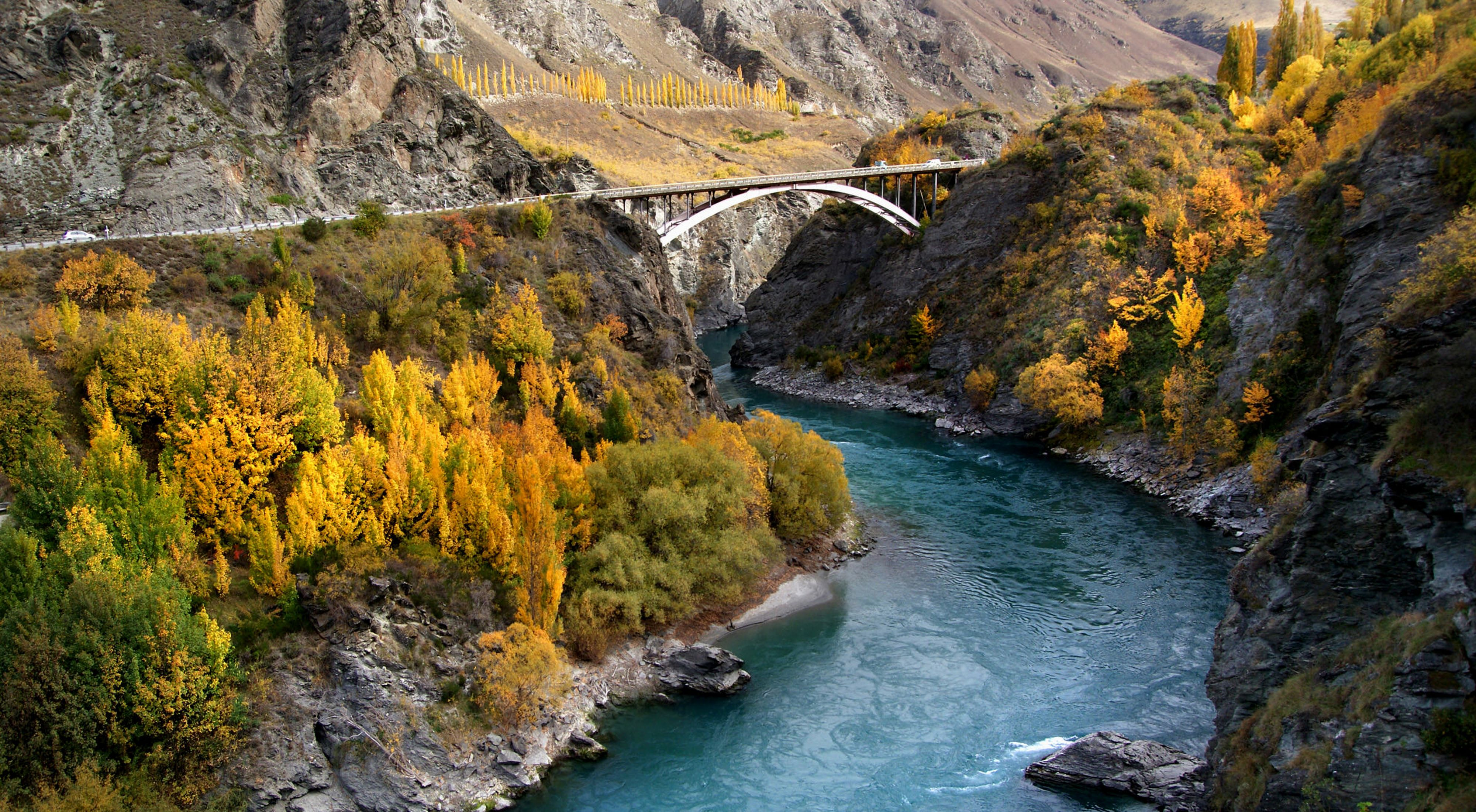 The Kawarau River flows through the gorge. The Kawarau Gorge is a located in Central Otago, in the South Island of New Zealand.
