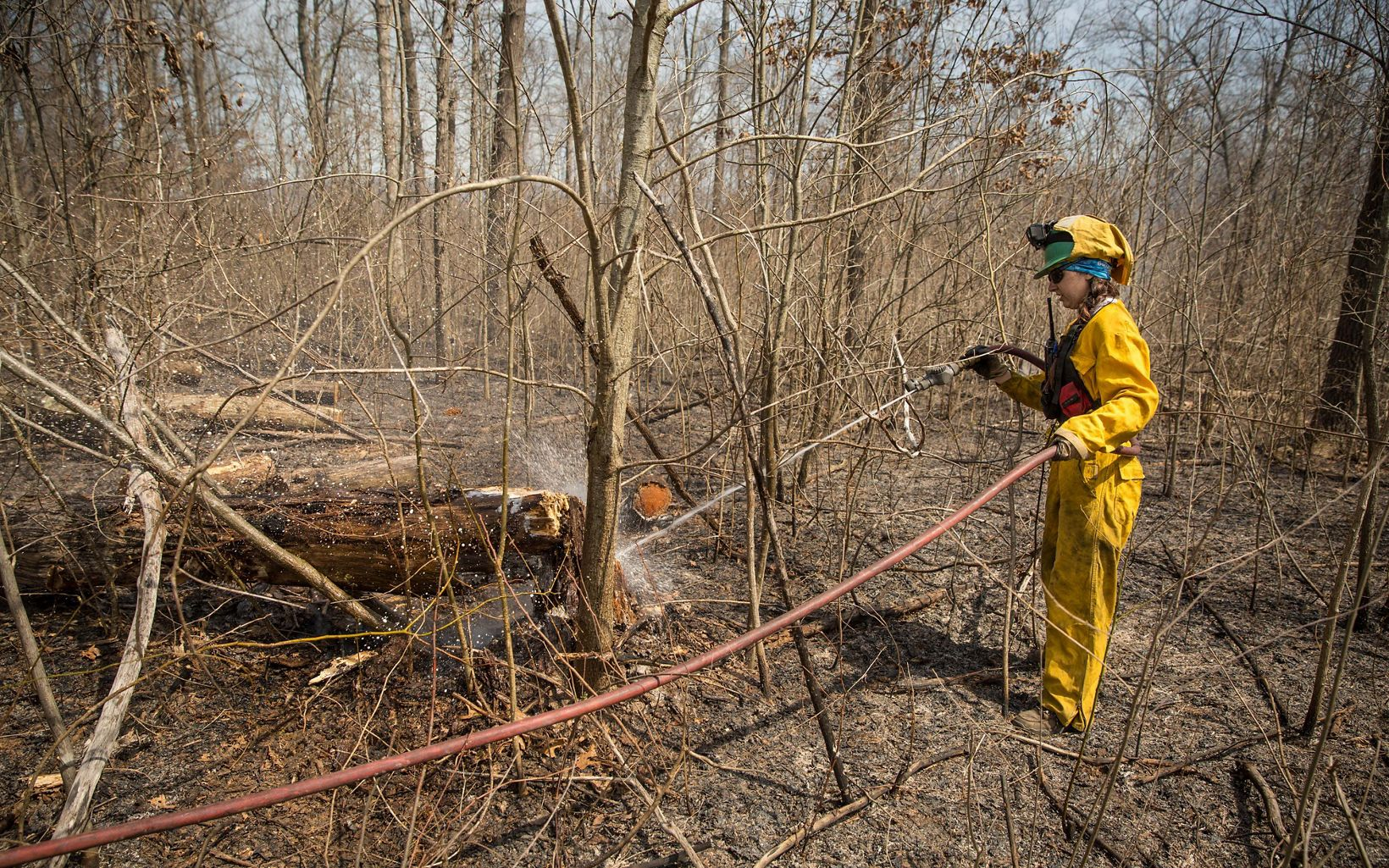 A man in yellow holds a long hose in the woods.