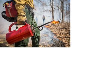 A hand holds a red drip torch.