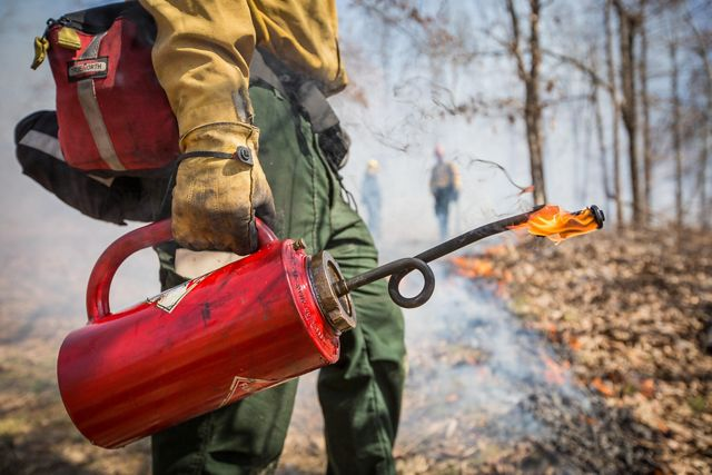 A fire crew member carries a red torch of fire.