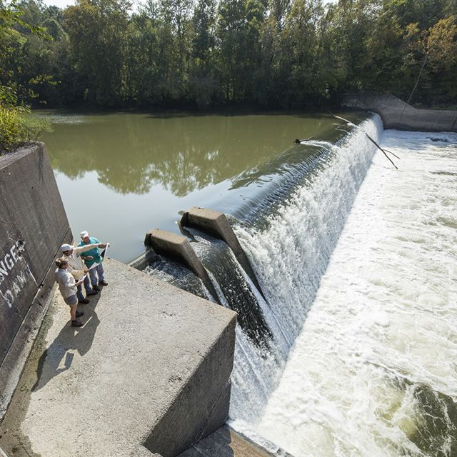 A large lock and dam.