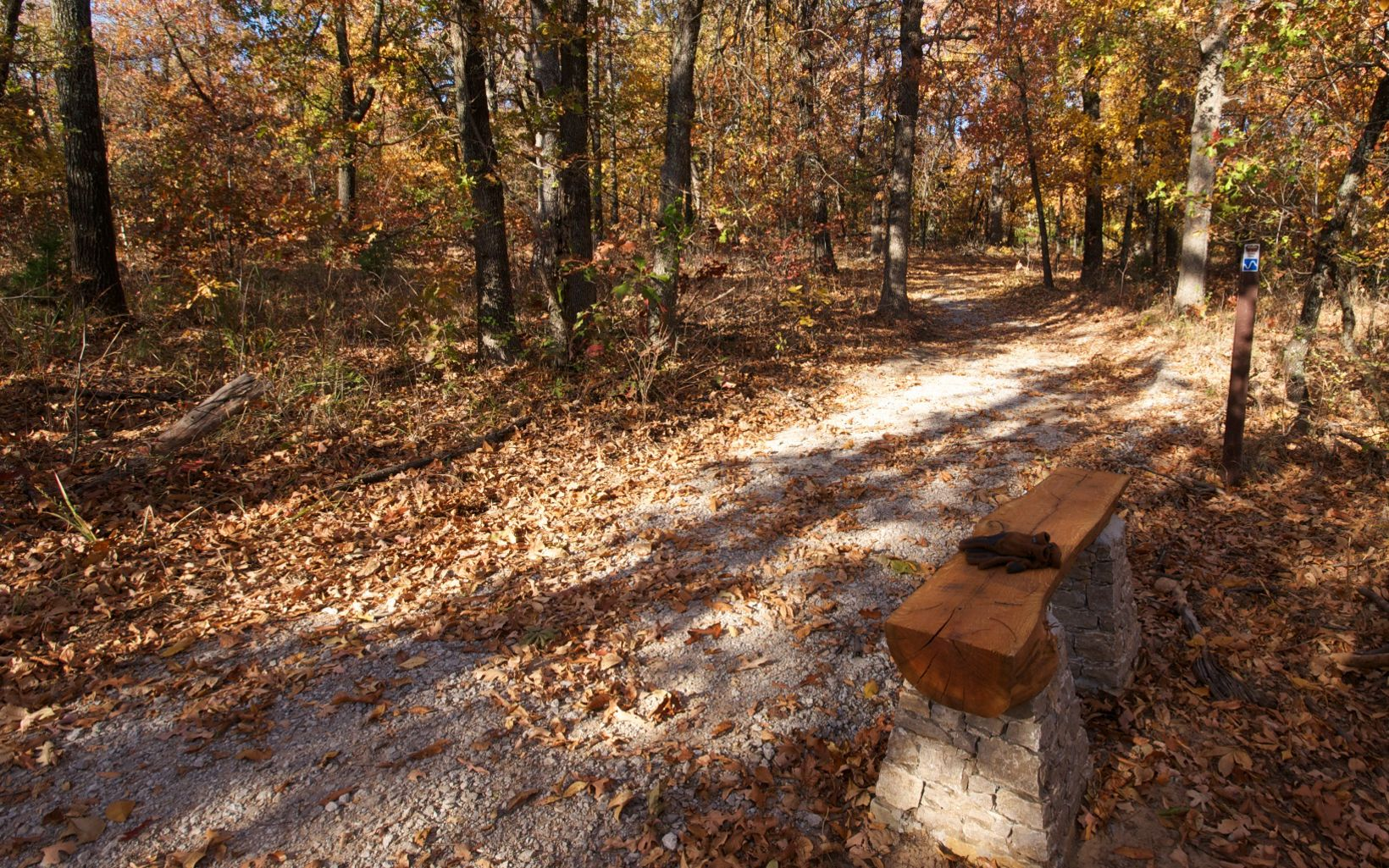 Hiking trails and hand-made benches at Keystone Ancient Forest in Sandsprings, OK.