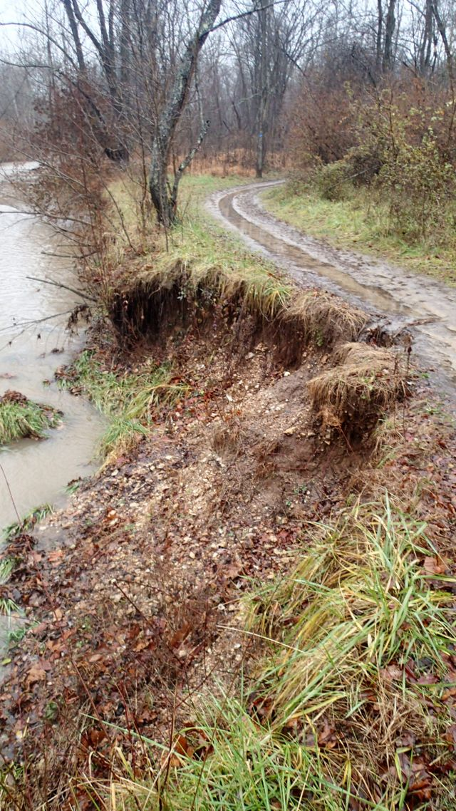 Severe erosion of Kiefer Creek at Castlewood State Park in Missouri.