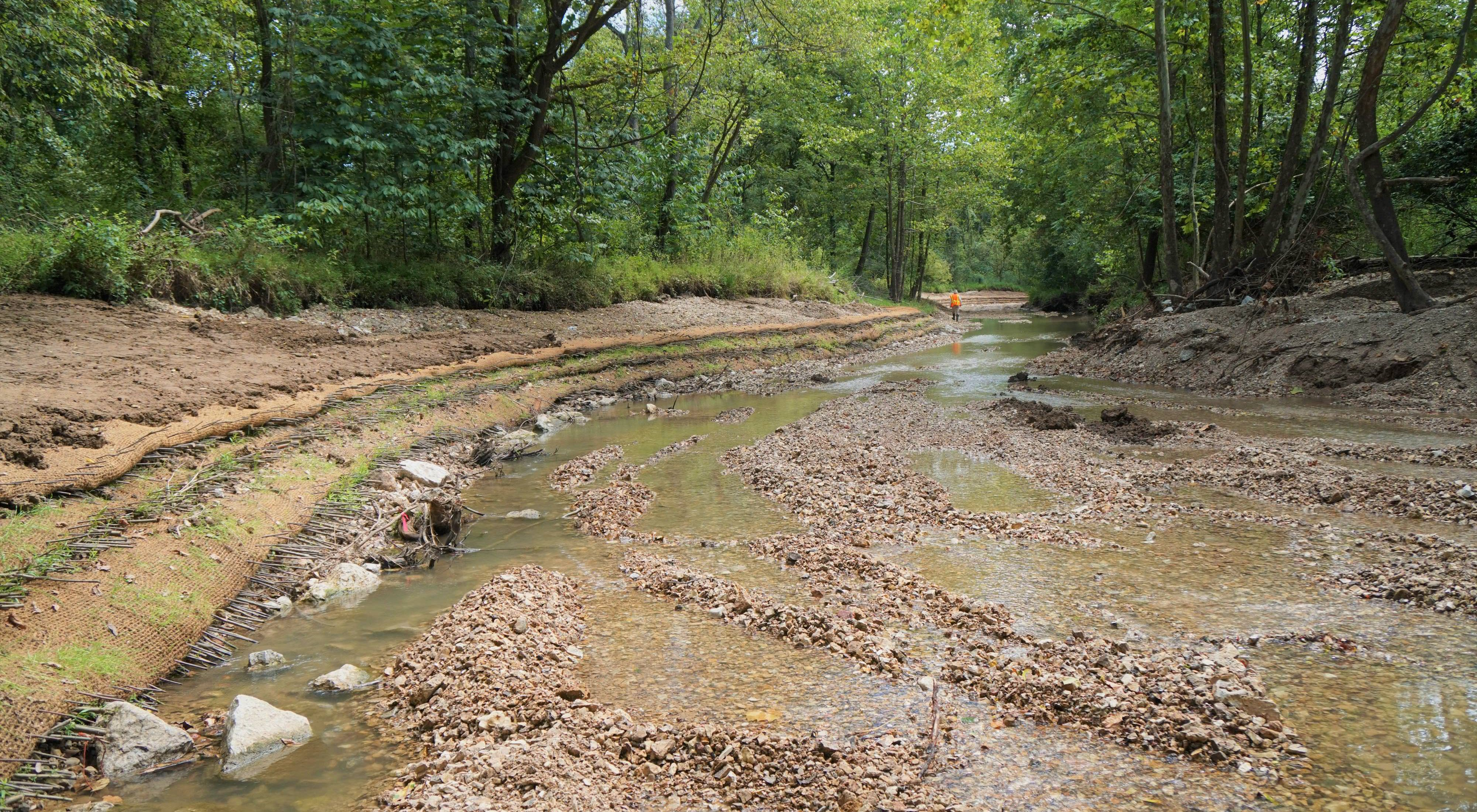 Newly constructed stream bank along Kiefer Creek in Castlewood State Park.