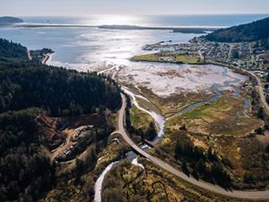Aerial view of the Kilchis Estuary in Oregon.