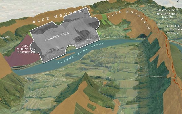 Illustrated map of mountains, valleys and river showing the outline of Cove Mountain Preserve and adjacent land parcel TNC is planning to purchase.