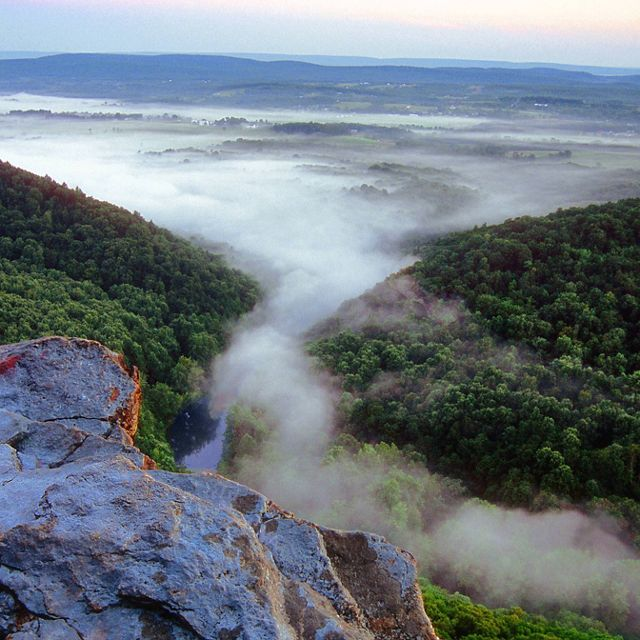View from a rock outcropping of thick white mist rising up from the green forest in the valley below.