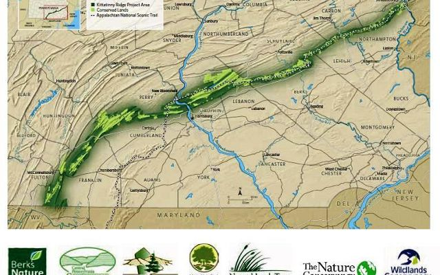 A green swath stretches over a map of Pennsylvania.