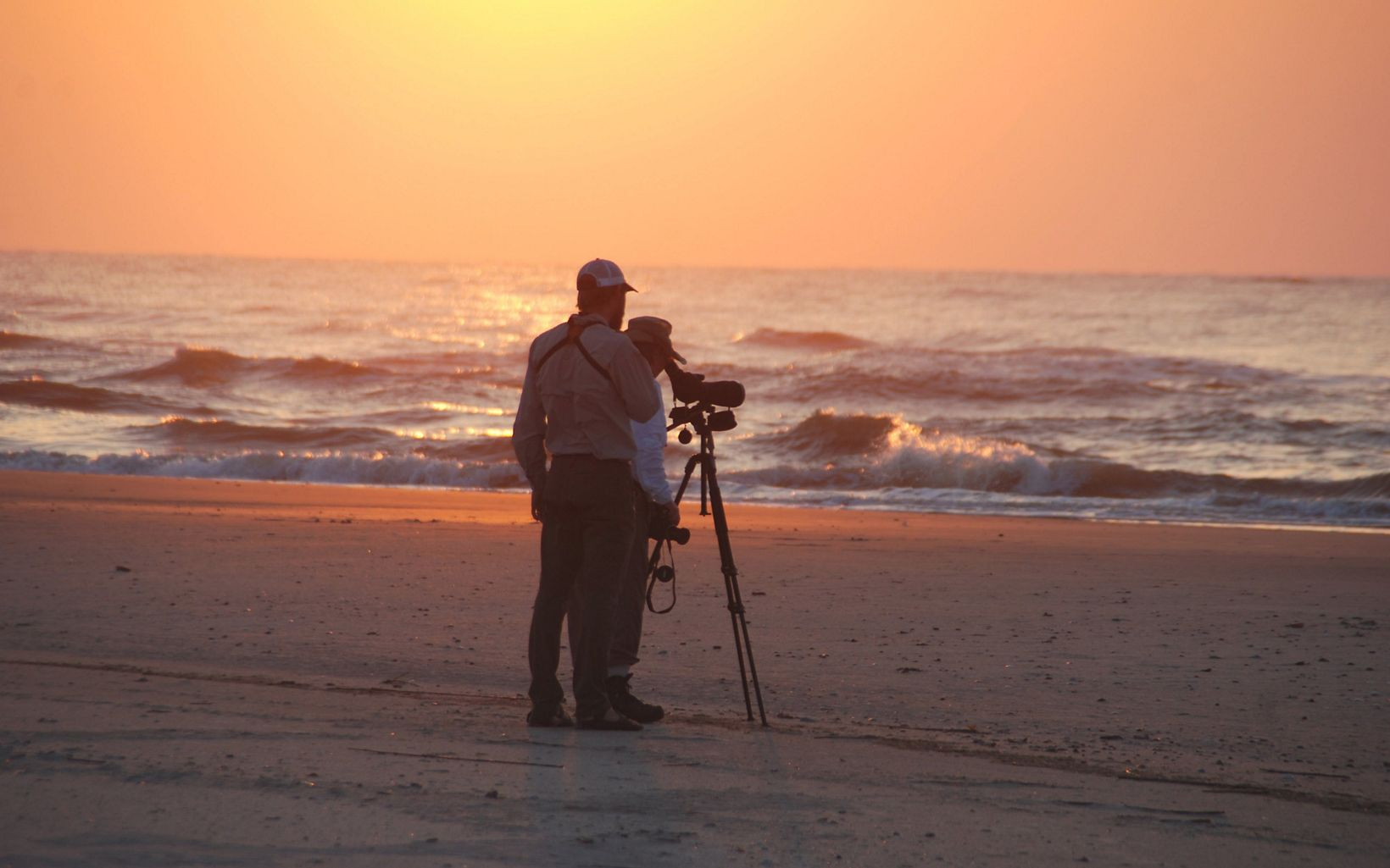 Two beachgoers look through a telescope for birds and wildlife in the early morning light at Little St. Simons Island.