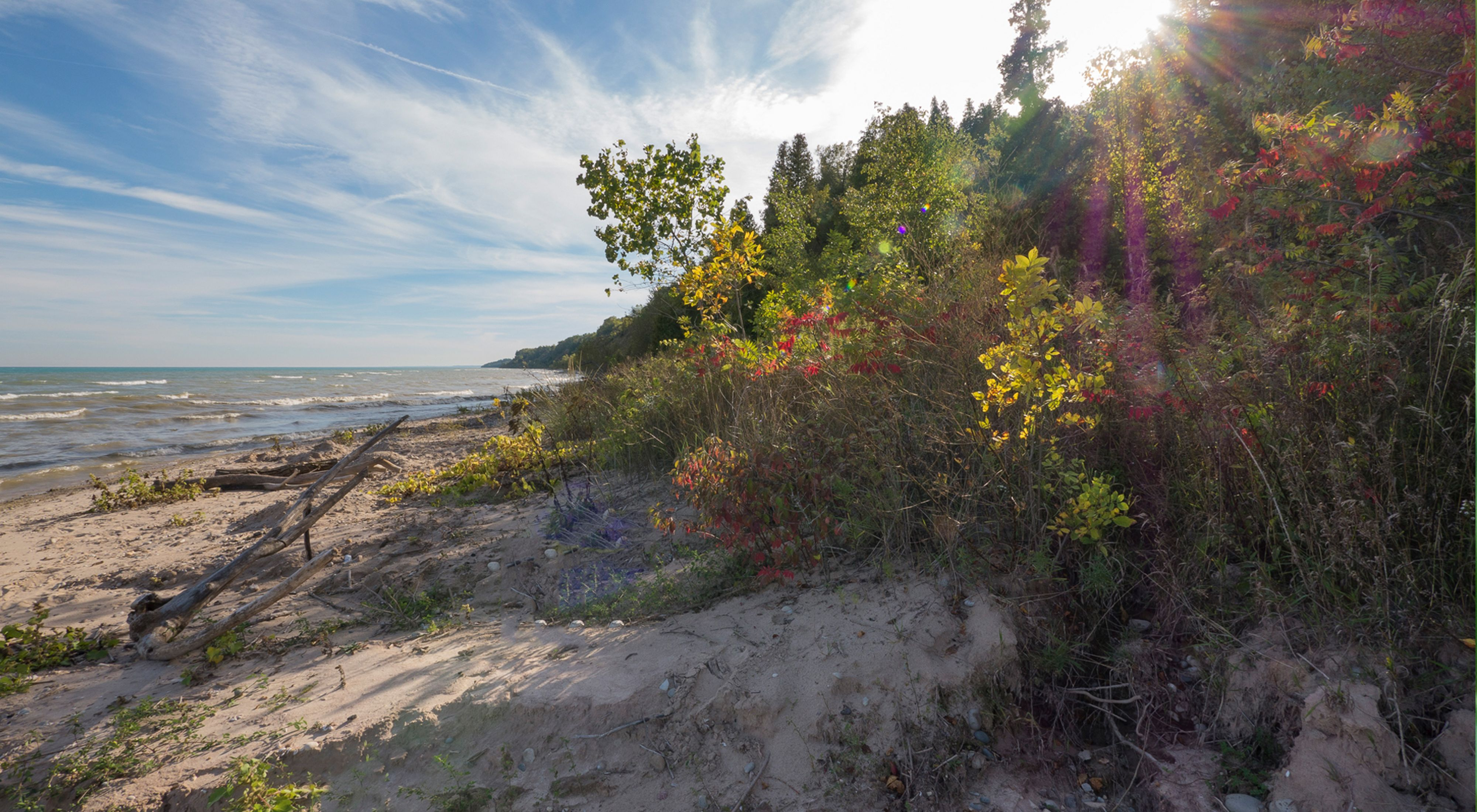 A sunbeam breaks through the clouds in a blue sky highlighting the vegetation along the sandy shore of Lake Michigan.