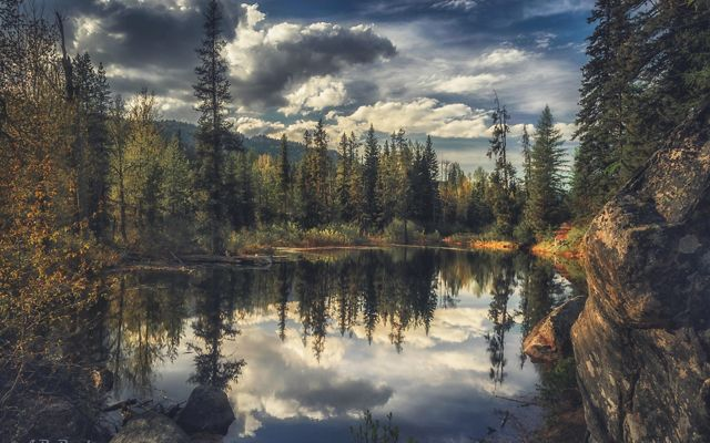 A wide view of a lake surrounded by forest near McCall, Oregon.