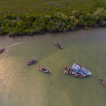Aerial view of fisherman in Africa