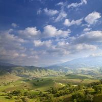 Scenic views of the rolling green hills and oak trees of the Tollhouse Ranch located in the heart of the Tehachapi corridor, California.