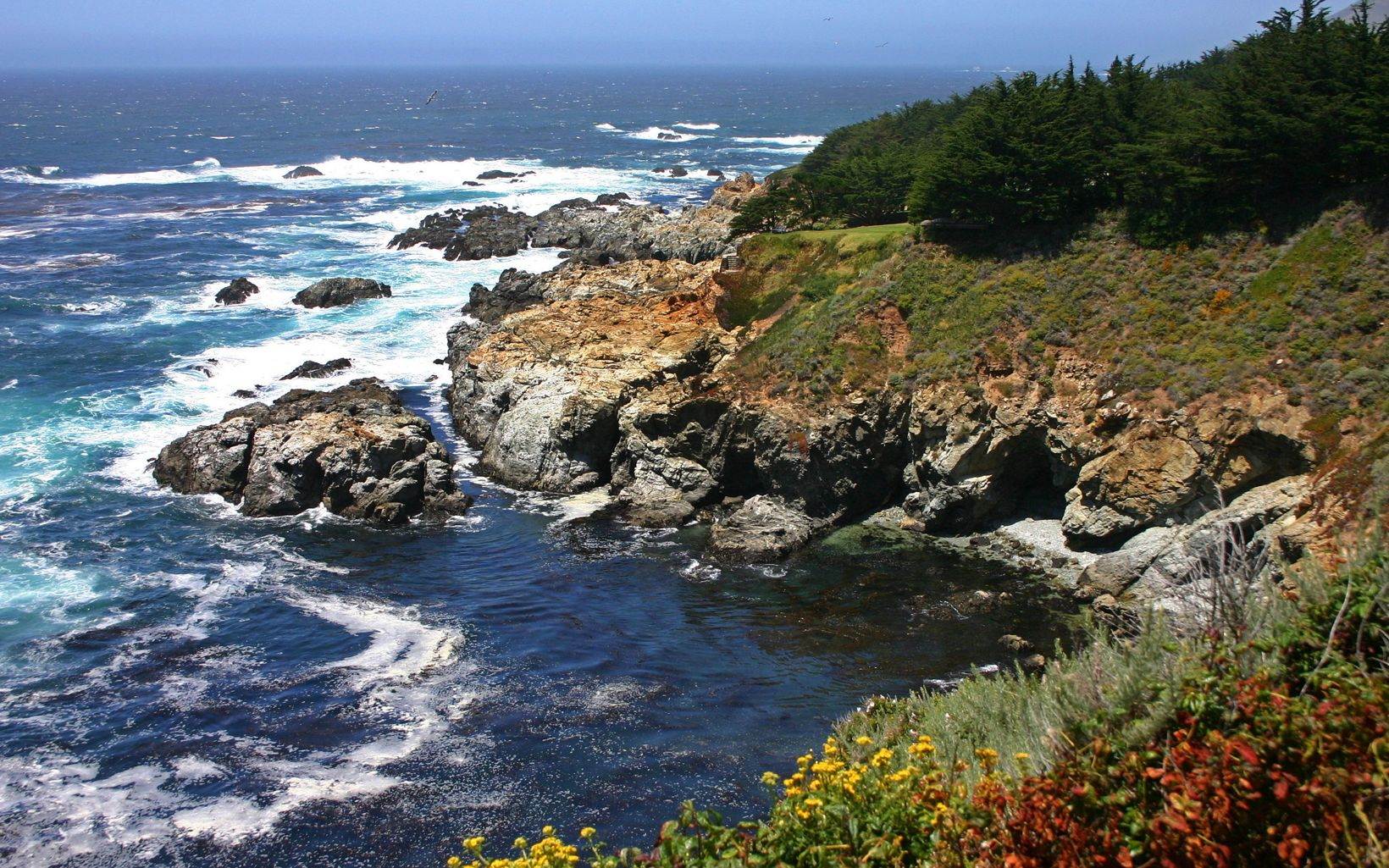 The rugged California Pacific coastline in the area near and north of Monterey, Carmel and Big Sur.