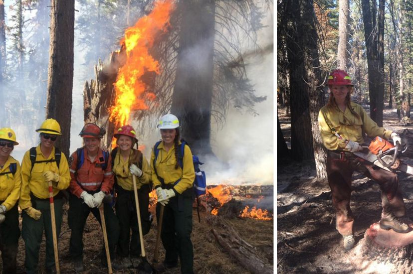 Two photos combined together in a collage. On the left five women pose together in front of a burning tree stump. On the right and woman wearing a red hard hat holds a large chain saw.
