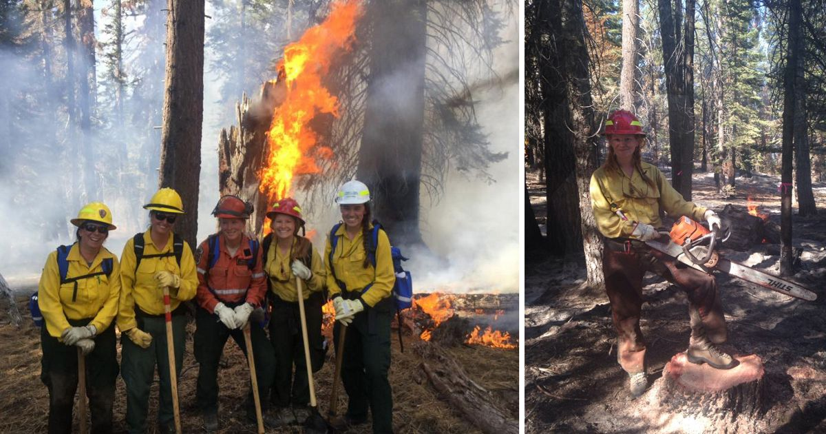 TNC's Laurel Schablein participating in the second annual Women-in-Fire Training Exchange (WTREX) in Mariposa, California.