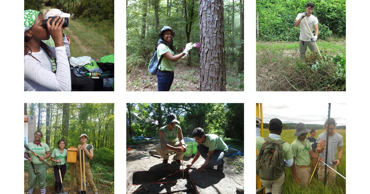 A collage of student conservation workers.