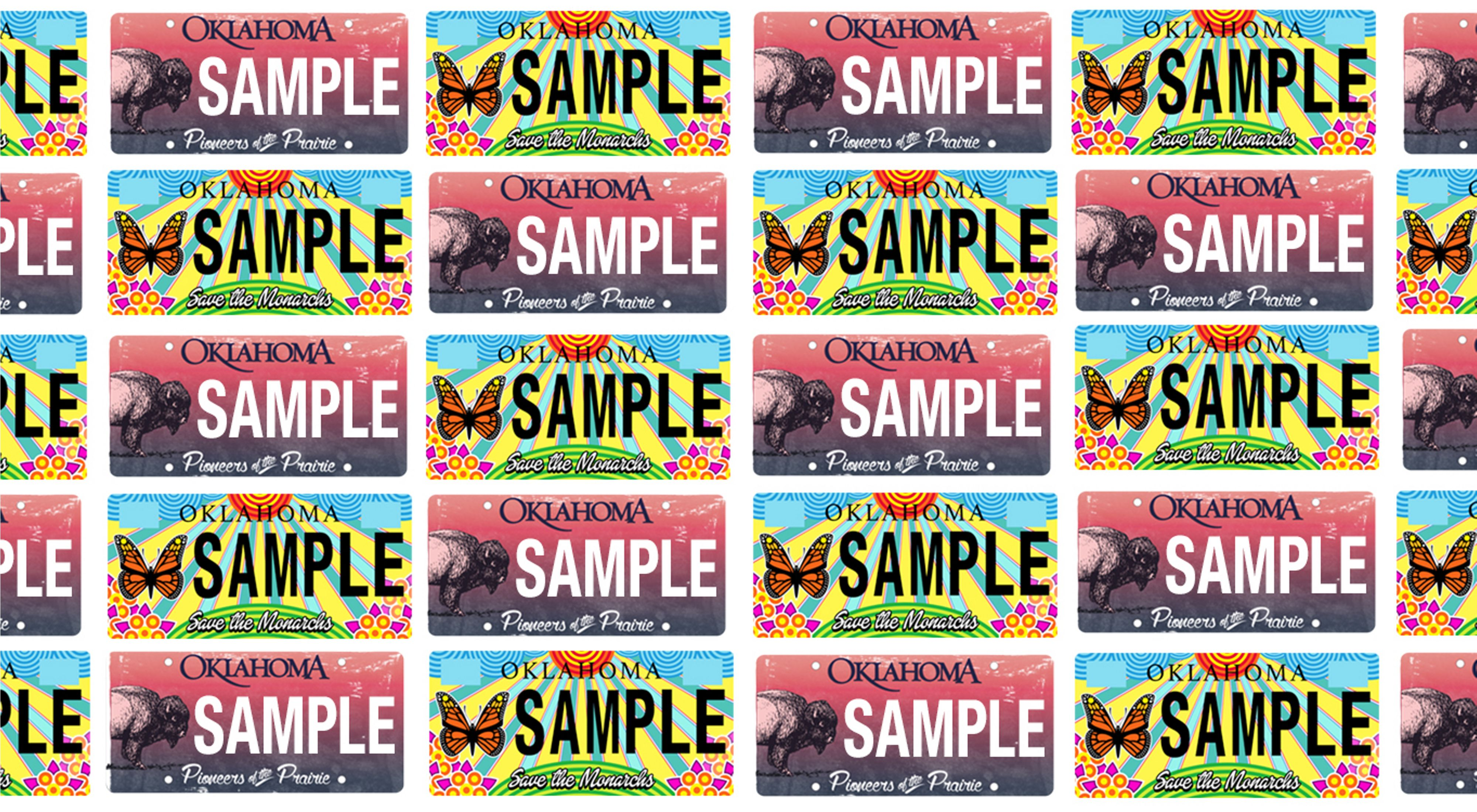 An alternating pattern of sample bison license plates in pink with a bison on them and monarch plates with a blue background, yellow sun rays, and an orange and black monarch.