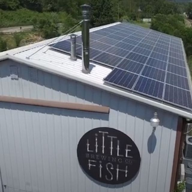 Rooftop solar installation at an Ohio brewery.