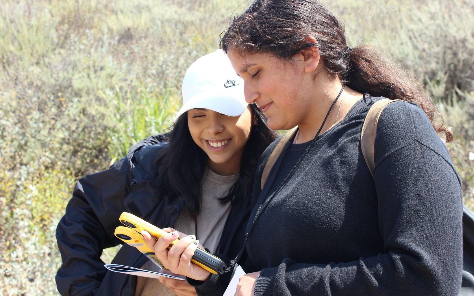 Lompoc Highschool students experiment with GPS technology on a visit to the preserve.