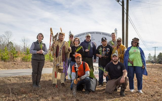 Partners gather on lands of the Cheroenhaka (Nottoway) Indian Tribe for the planting of the first crop of longleaf pine seedlings grown in Virginia, December 29, 2018.