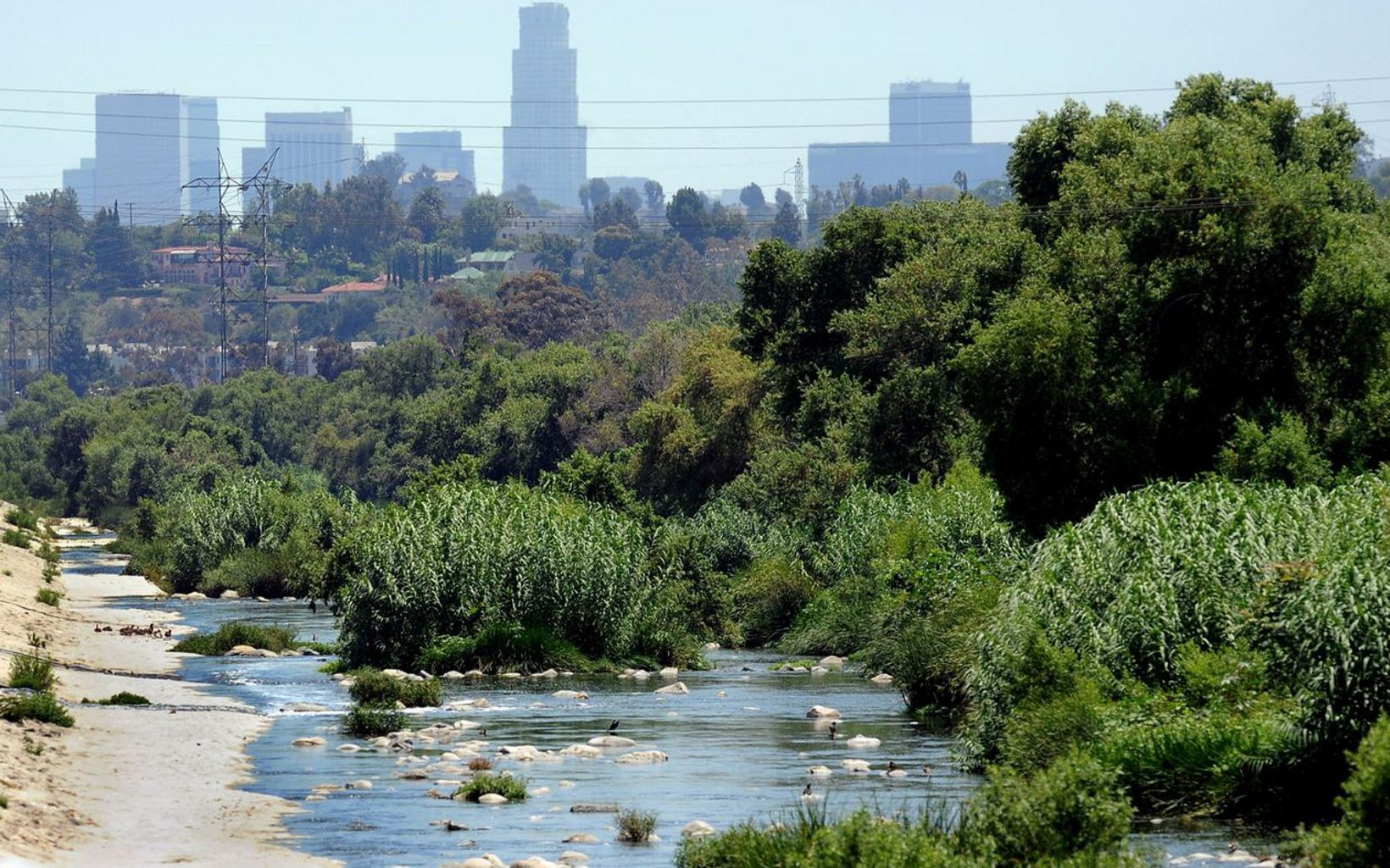 View of LA River with Los Angeles in the background