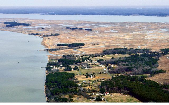 A small community on the Lower Eastern Shore of Maryland is surrounded by rising waters.