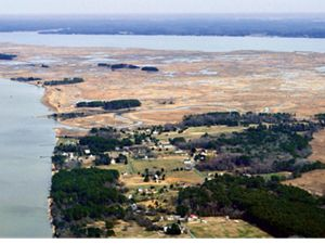 Aerial view of Maryland's lower Eastern Shore
