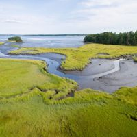 Lubberland Creek is a  tidal creek that flows through the salt marsh at Lubberland Creek Preserve into Great Bay in Newmarket, New Hampshire