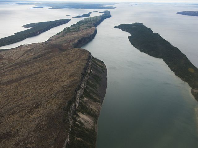 The Pethei Peninsula separates the basins of the East arm of Great Slave Lake.  McLeod Bay is to the north and Christie Bay to the south.