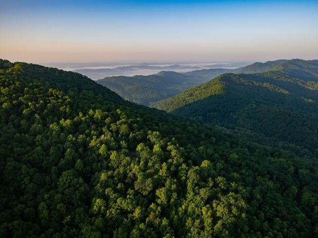 Aerial photograph of the Cumberland Gap in Kentucky. May 2019. The Cumberland Forest Project protects 253,000 acres of Appalachian forest and is one of TNC's largest-ever conservation efforts in the eastern United States.